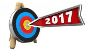 3d illustration of 2017 year arrow with target stand over white background